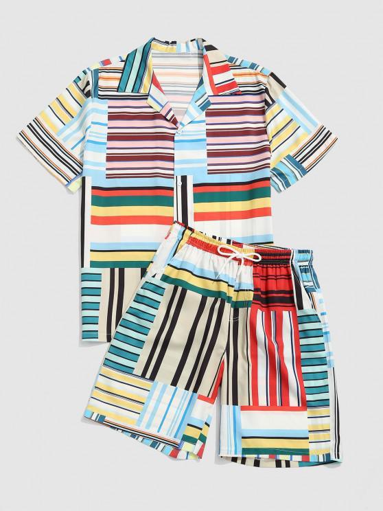 best Stripes Patchwork Print Shirt and Shorts Set - DEEP SKY BLUE XL
