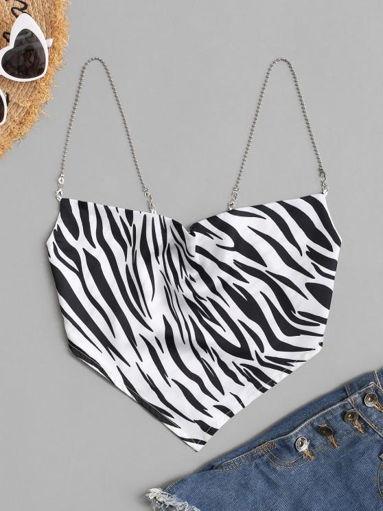 fashion Chain Straps Zebra Print Satin Bandana Cami Top - MULTI S