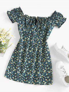 ZAFUL Ditsy Print Ruffle Keyhole Mini Dress - Black S