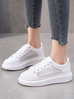 Mesh Insert Lace Up Sneakers - White Eu 41