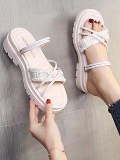Faux Pearl Two Way Slides Sandals - Warm White Eu 40