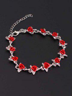 Red Rose Charm Plated Adjustable Bracelet - Silver