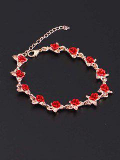 Red Rose Charm Plated Adjustable Bracelet - Rose Gold