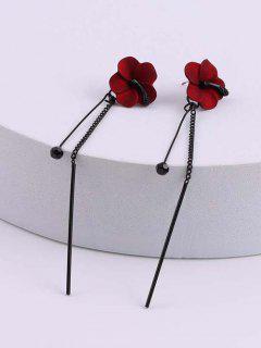 Flower Linear Long Dangle Threader Earrings - Red Wine