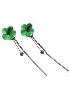 Flower Linear Long Dangle Threader Earrings - Clover Green