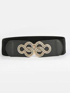 Engraved Buckle Wide Elastic Waist Belt - Black