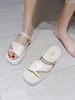 Sandalias De Tacón De Plataforma Con Dos Tonos - Blanco Cálido Eu 39