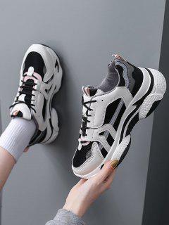 Colorblock Mesh Insert Clunky Sneakers - Gray Eu 37
