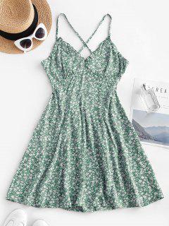 Ditsy Floral Criss Cross Frilled Cami Dress - Light Green M