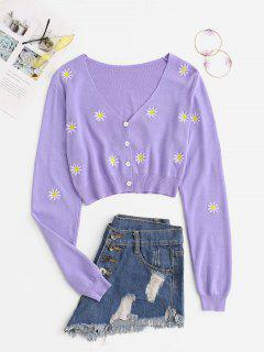 Button Up Floral Embroidered Cropped Cardigan - Light Purple M