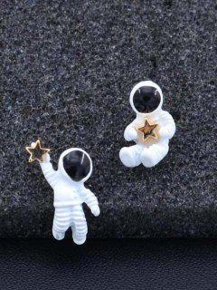 Astronaut Star Cute Asymmetric Stud Earrings - White