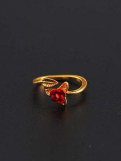 Rose Leaf Adjustable Open Ring - Golden