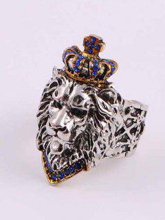Rhinestone Crown Lion Head Chunky Open Ring - Blue