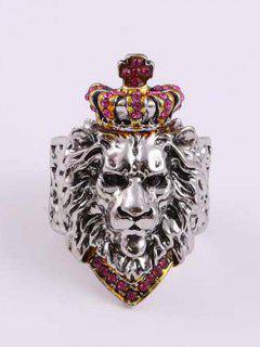 Rhinestone Crown Lion Head Chunky Open Ring - Pink