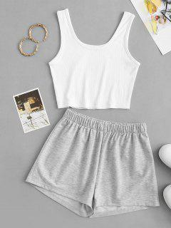 Two Piece Ribbed Lounge Marl Shorts Set - Light Gray S