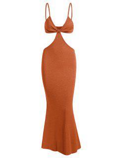 Spaghetti Strap Cutout Knit Maxi Mermaid Dress - Coffee M
