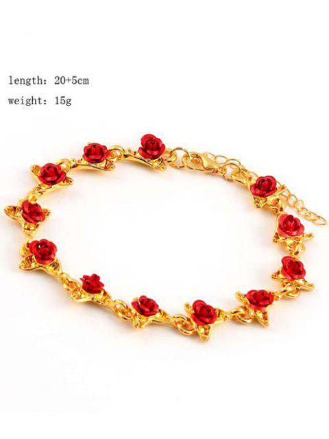 lady Red Rose Charm Plated Adjustable Bracelet - GOLDEN  Mobile