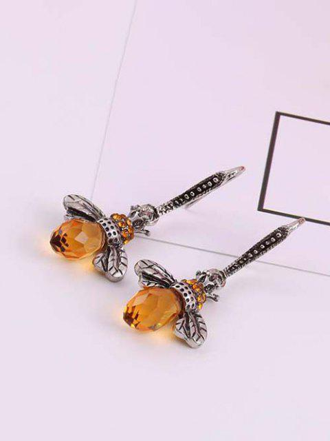 Gravierte Biene Strass Haken Ohrringe - Silber  Mobile