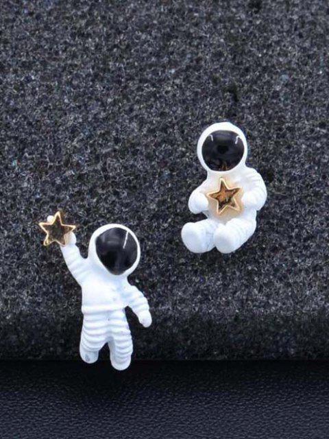 Astronaut Stern Karte Asymmetrische Ohrstecker - Weiß  Mobile