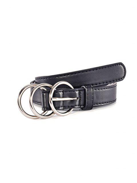 Drei Ring Satinbänder Dornschließe Gürtel - Schwarz  Mobile