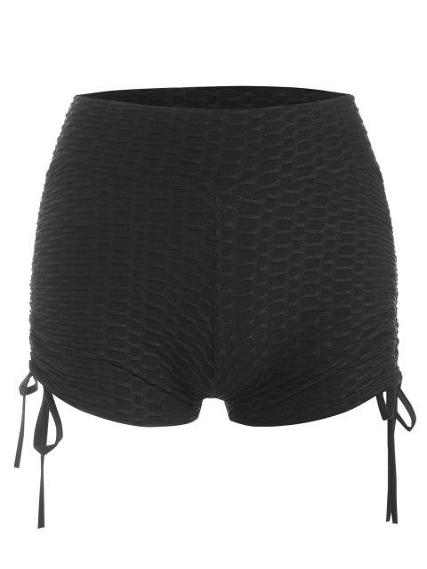 fashion Textured Ruched Cinched Gym Shorts - BLACK M Mobile