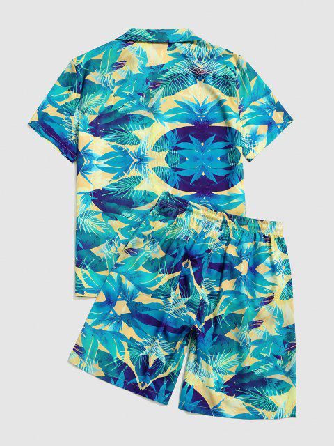 Camicetta e Pantaloncini con Stampa Foglie Tropicali - Turchese Nera L Mobile
