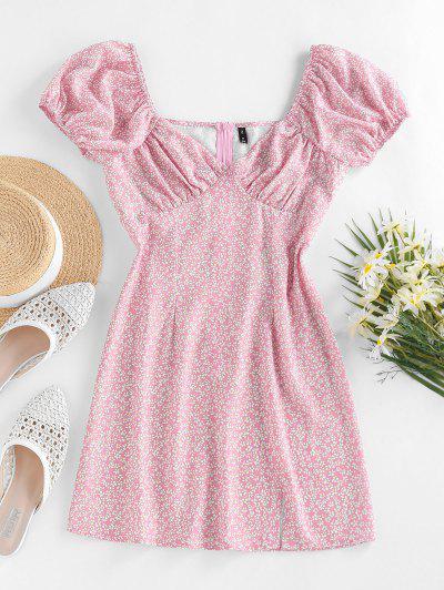 ZAFUL Ditsy Print Puff Sleeve Slit Mini Dress - Light Pink S