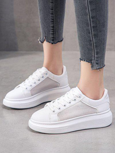 Mesh Insert Lace Up Sneakers - White Eu 37