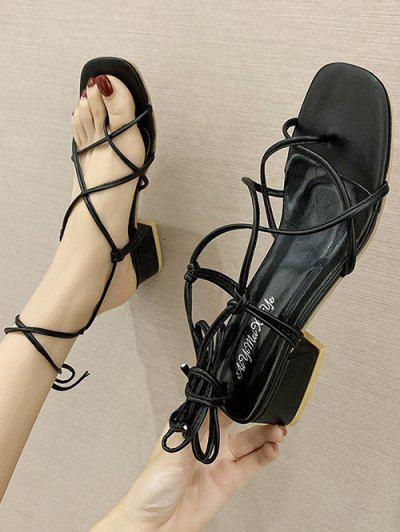 Criss Cross Strappy Chunky Heel Sandals - Black Eu 38