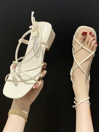 Criss Cross Strappy Chunky Heel Sandals - Warm White Eu 39