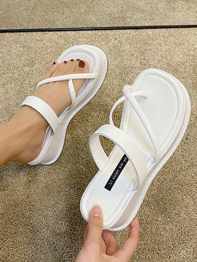 Cross Toe Ring Platform Slides Sandals - White Eu 39