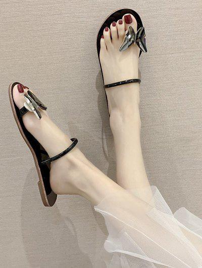Butterfly Toe Ring Flat Slides Sandals - Black Eu 40