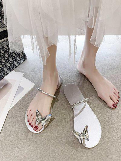 Butterfly Toe Ring Flat Slides Sandals - Platinum Eu 40
