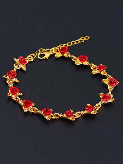 Red Rose Charm Plated Adjustable Bracelet - Golden