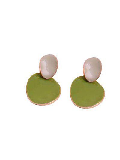Irregular Shape Colorblock Golden Edge Stud Earrings - Salad Green