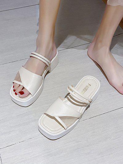 Mesh Insert Platform Two Way Sandals - Warm White Eu 39