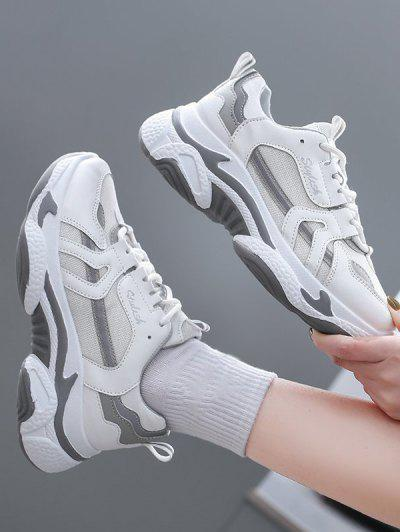 Colorblock Mesh Insert Clunky Sneakers - White Eu 37