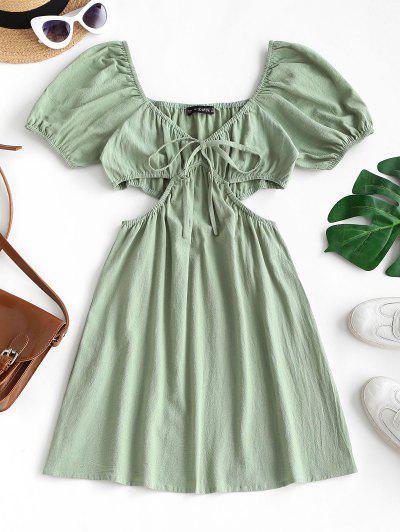 Puff Sleeve Cutout Tied Plunge Dress - Light Green M