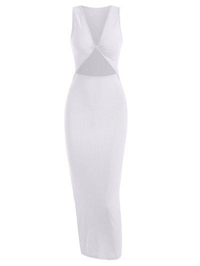 Rib-knit Twist Cutout Split Side Slinky Tank Dress - White S