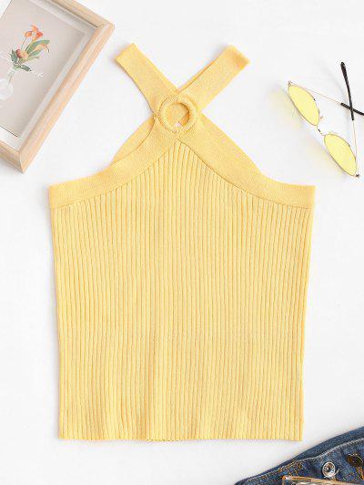 Ribbed Knit O-ring Criss Cross Tank Top - Yellow S