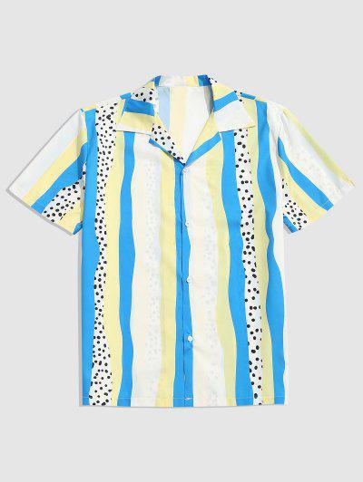 Striped Polka Dot Print Button Up Shirt - Crystal Blue L