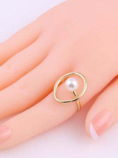 Faux Pearl Geometric Golden Open Ring - Golden