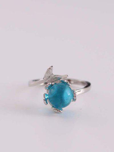 Glas Ball Schwanz Einstellbarer Manschette Ring - Silber