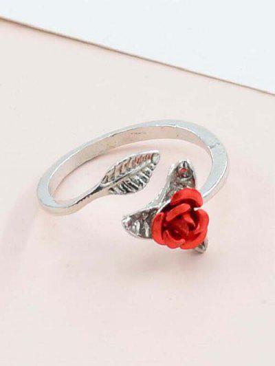 Rose Blatt Verstellbarer Ring - Silber