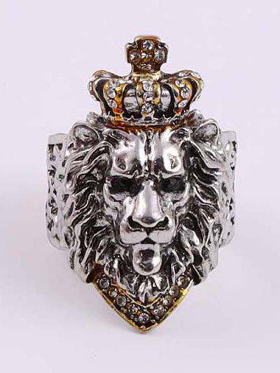 Rhinestone Crown Lion Head Chunky Open Ring - White