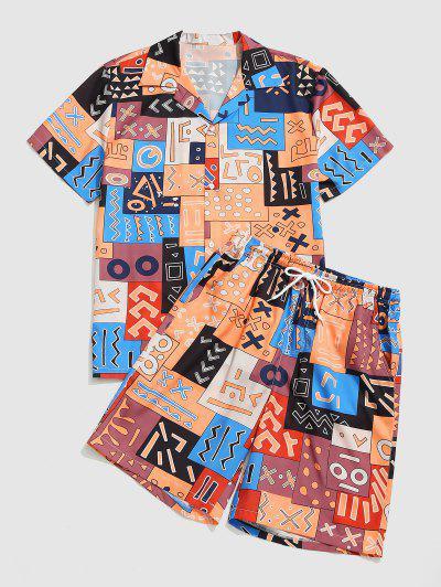 Tribal Patchwork Print Shirt And Shorts Set - Orange Salmon L