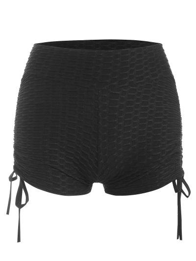 Textured Ruched Cinched Gym Shorts - Black M