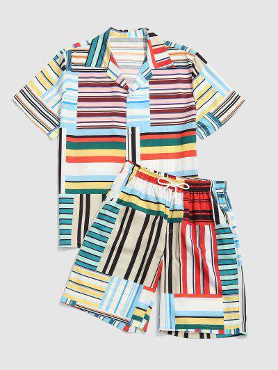 Stripes Patchwork Print Shirt And Shorts Set - Deep Sky Blue Xl