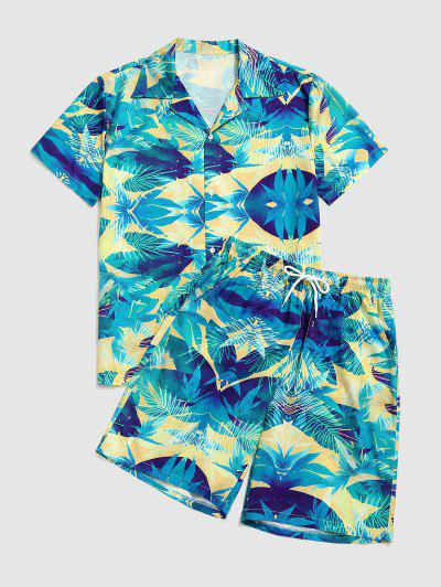 Tropical Leaves Print Shirt And Knee Length Shorts Set - Dark Turquoise L