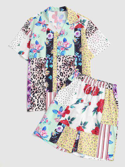Floral Leopard Polka Dot Printed Shirt And Shorts Set - Sun Yellow Xxl